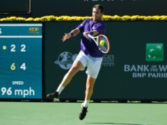 Cameron Norrie in action in his semi-final win over Grigor Dimitrov at Indian Wells on Saturday (John McCoy/AP)