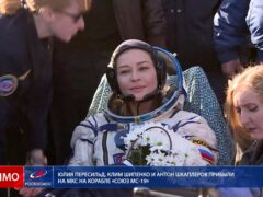 Actress Yulia Peresild has returned to Earth after filming on the ISS (Roscosmos Space Agency/AP)