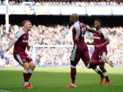 Angelo Ogbonna (centre) netted West Ham's winner (Peter Byrne/PA)