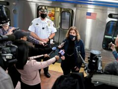 Septa general manager Leslie Richards speaks during a news conference as Septa Transit Police Chief Thomas Nestel III stands behind her (Tom Gralish/AP)