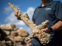 Experts say the sword dates back to the Crusaders (Ariel Schalit/AP)