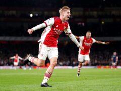 Emile Smith-Rowe celebrates after scoring Arsenal's third goal (Zac Goodwin/PA)