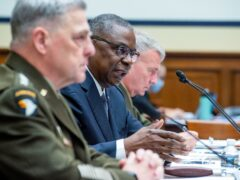 General Mark Milley, left, has said China's test of a hypersonic weapon is 'very concerning' (Rod Lamkey/Pool via AP)