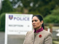 Home Secretary Priti Patel during a visit to Thames Valley Police Training Centre in Reading (Steve Parsons/PA)