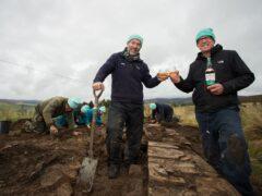 Derek Alexander of National Trust for Scotland and Alan Winchester from The Glenlivet Distillery at the dig (Alison White)