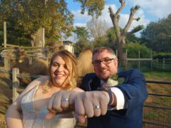 Matt Robbins and Alison Russell got married at London Zoo with a pair of special rings (PA) (Zoological Society of London)