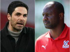 Mikel Arteta (left) and Patrick Vieira face each other on Monday (John Walton/Morgan Harlow/PA)