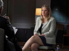 Facebook whistleblower Frances Haugen talks with CBS' Scott Pelley (Robert Fortunato/CBS News/60 Minutes via AP)