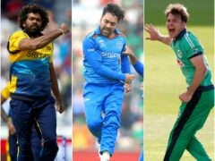 Curtis Campher joined Lasith Malinga, left, and Rashid Khan, centre, in the history books (Tim Goode/Adam Davy/ Andrew Couldridge/PA)