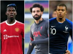 Paul Pogba, Mohamed Salah and Kylian Mbappe are all in their final two years of their current deals (PA)