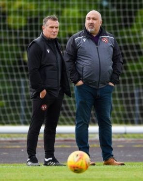 Dundee United boss Micky Mellon and sporting director Tony Asghar.