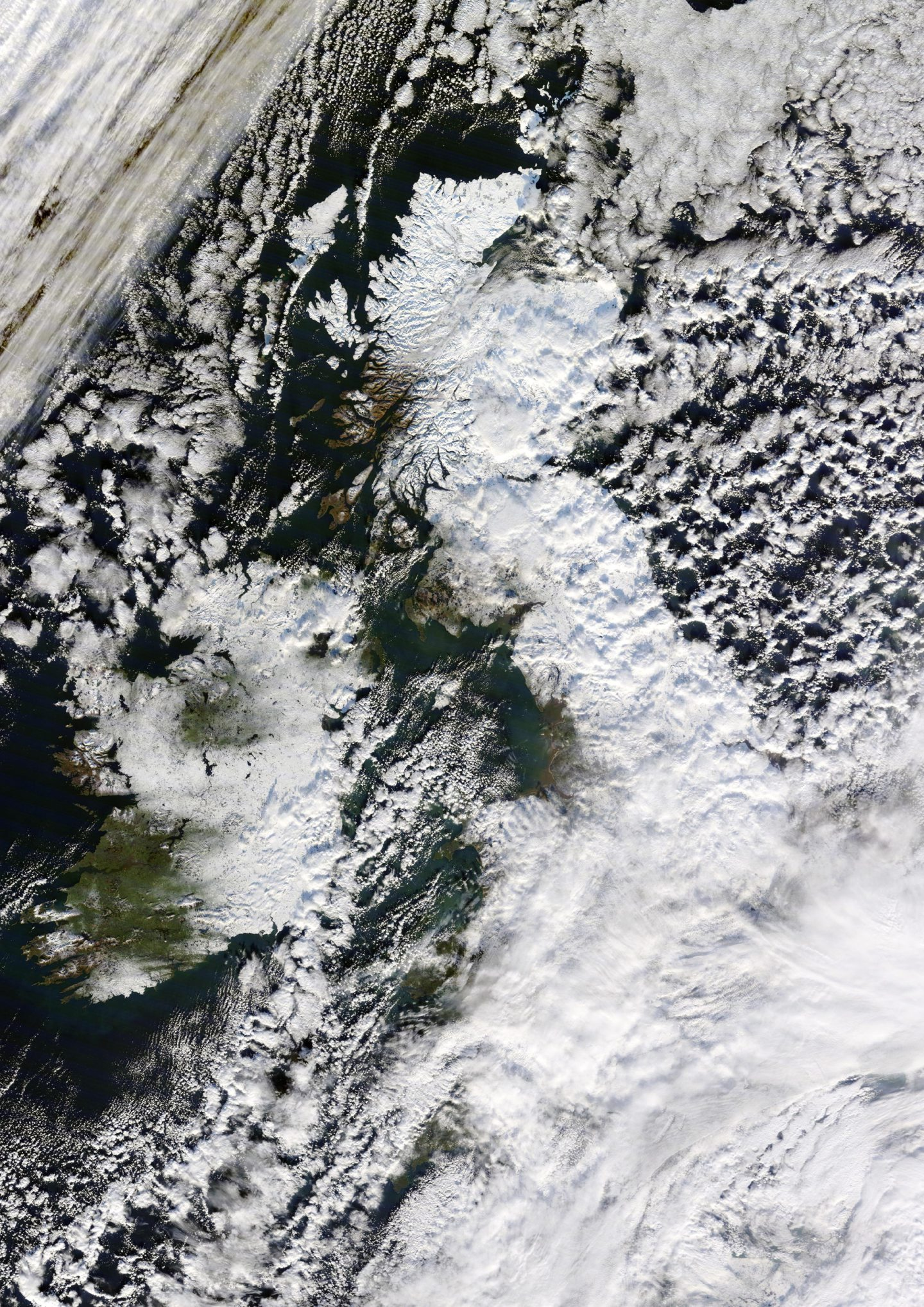 This striking image issued by Dundee University, taken by the NASA satellite Terra, shows the UK completely covered in snow in December 2010.