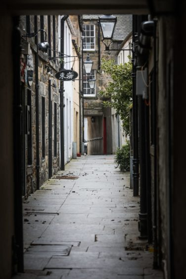 Empty streets of St Andrews during the first lockdown.