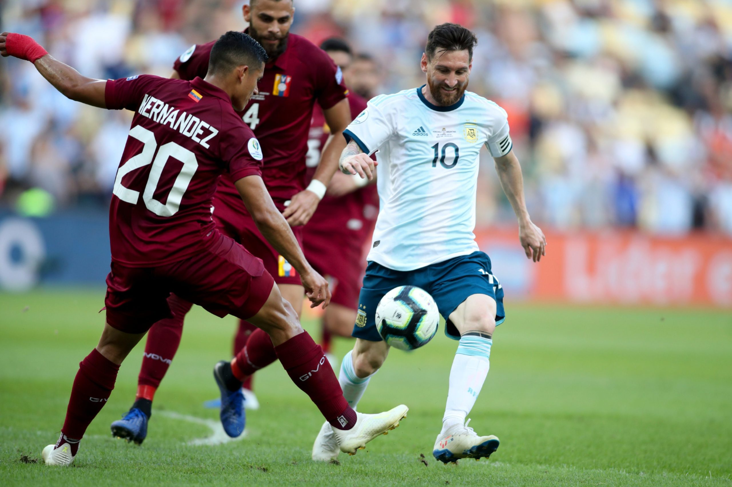 Argentina's Lionel Messi, right, and Venezuela's Ronald Hernandez vie for the ball during the 2019 Copa America quarter-final at Rio de Janeiro's Maracana.