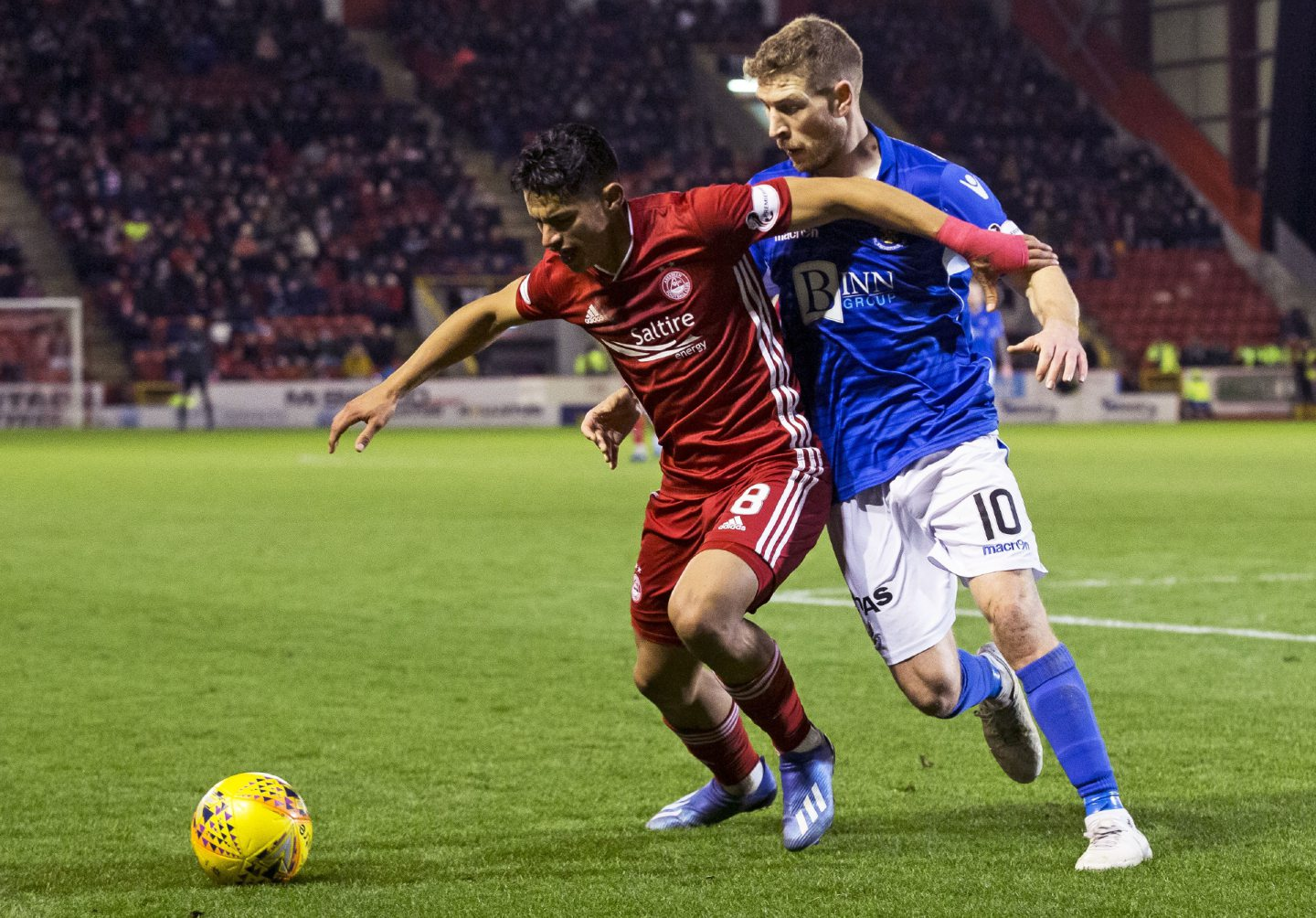 Aberdeen's Ronald Hernandez is challenged by St Johnstone's David Wotherspoon during the Ladbrokes Premiership match between Aberdeen and St Johnstone at Pittodrie Stadium on February 5.