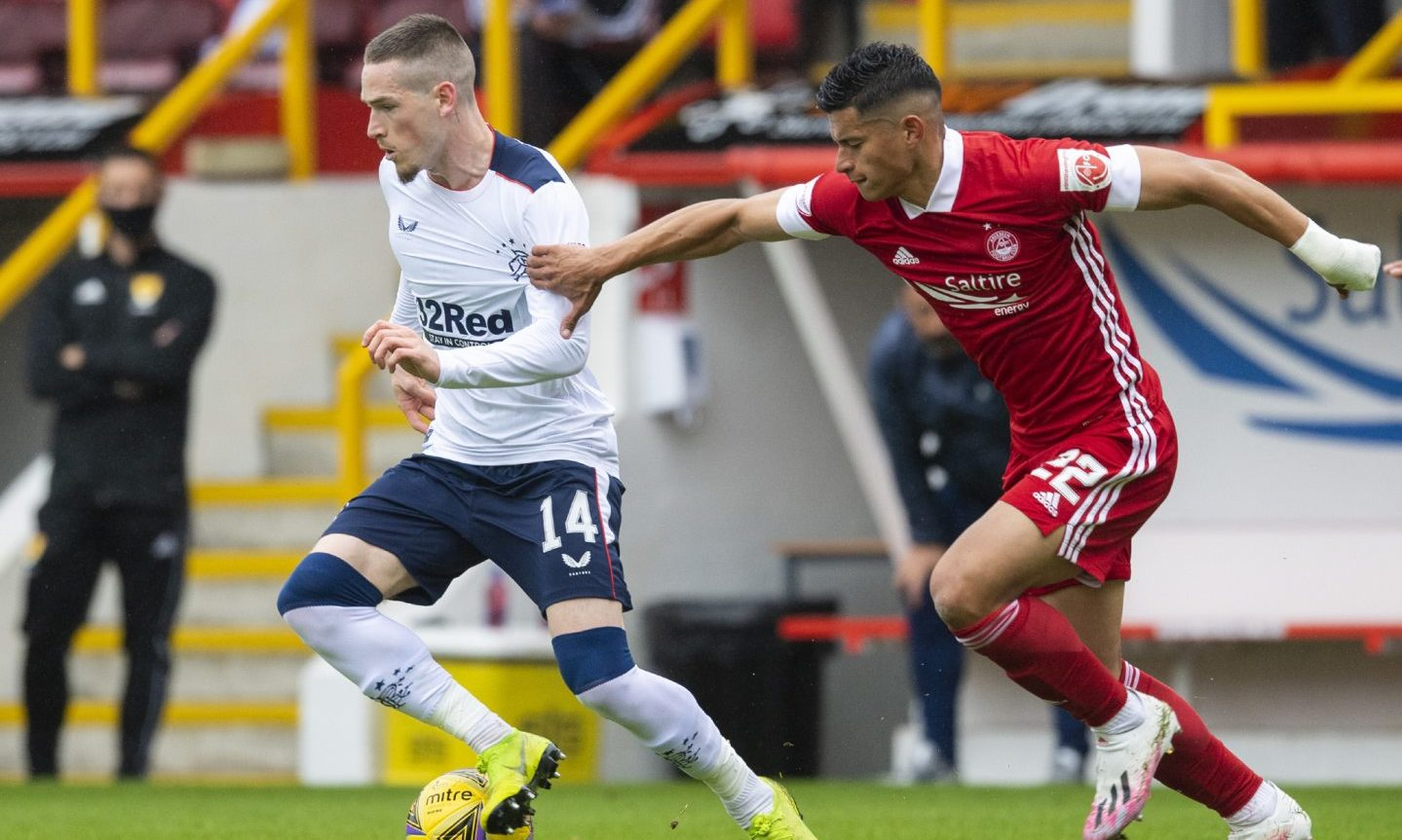 Rangers' Ryan Kent holds off Aberdeen's Ronald Hernandez during the Scottish Premiership match between Aberdeen and Rangers at Pittodrie on August 1.