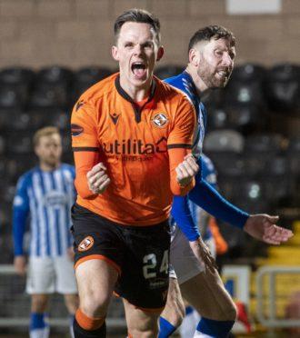 Lawrence Shankland scores against Kilmarnock.
