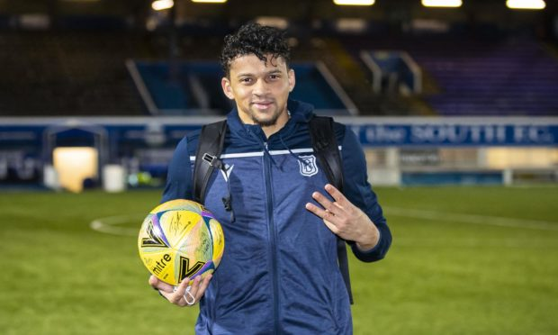 Dundee striker Osman Sow at full-time after hat-trick against Queen of the South.