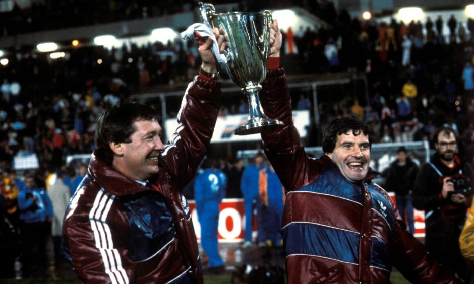 Alex Ferguson (left) and assistant Archie Knox led Aberdeen to the European glory in 1983.