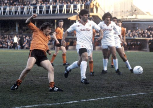 Dundee United's Paul Sturrock in action against Roma in 1984.