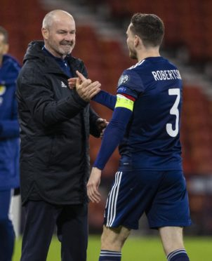 Steve Clarke and Scotland captain Andy Robertson.