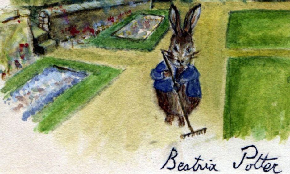 A drawing of Peter Rabbit by Beatrix Potter.