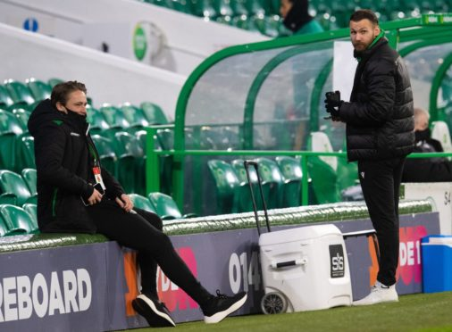 Scott Allan and Martin Boyle pictured at Celtic Park on Monday night where Hibs drew 1-1.