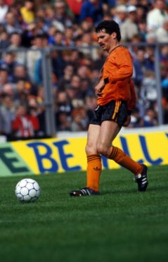 John Holt in action for Dundee United against St Mirren in 1987 Scottish Cup Final.
