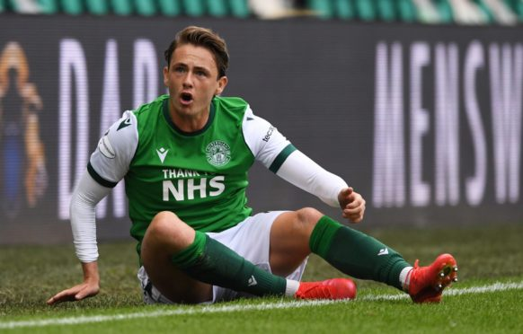 Scott Allan in action for Hibs.