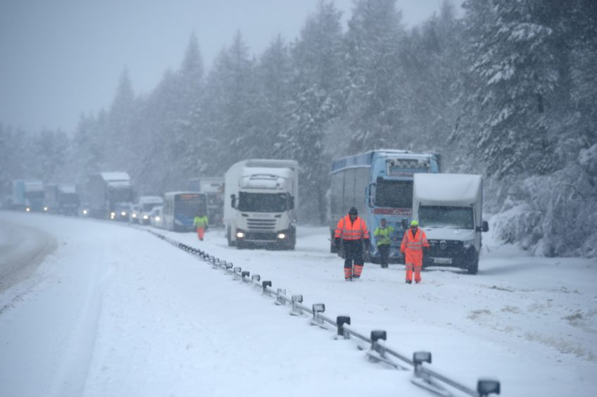 Heavy snow causing traffic difficulties on the A9 between Tomatin and Carrbridge in January 2021.
