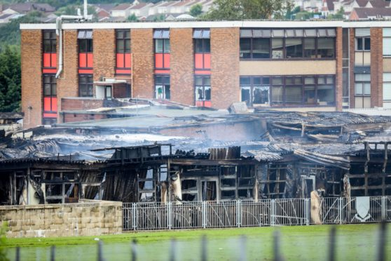 A burnt out Woodmill High School building after a fire