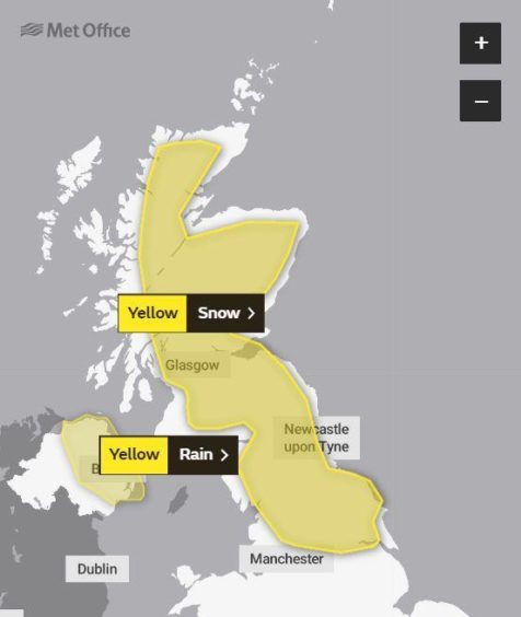 The weather warning for Wednesday into Thursday.