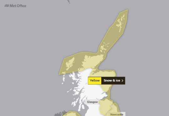 The Met Office snow and ice warning for Friday.