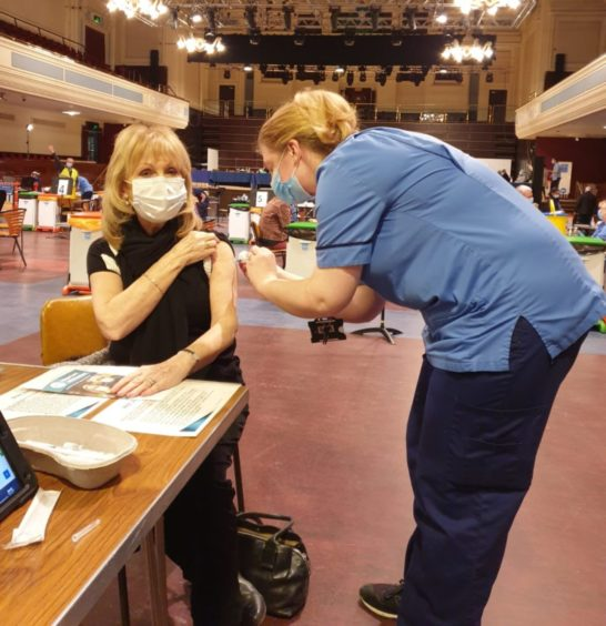 Covid vaccine clinic at the Caird Hall in Dundee