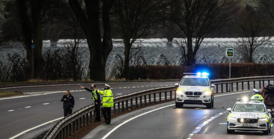 The scene of the A90 accident near St Madoes.