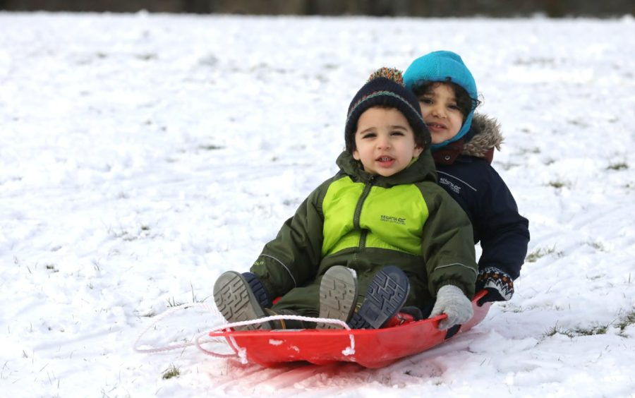 Fares & Adham sledging at Camperdown Park on Monday, February 1.