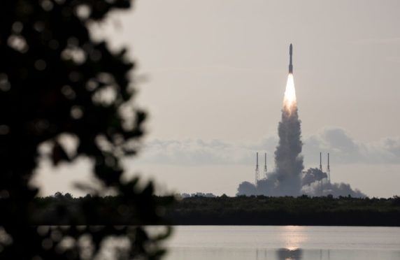 A United Launch Alliance Atlas V rocket launches the Perseverance rover.