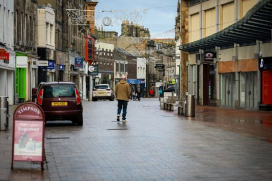 Kirkcaldy's High Street deserted during the second lockdown.