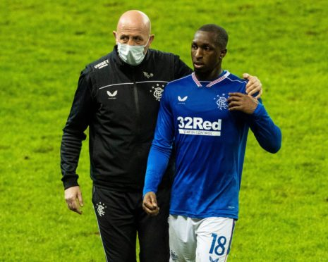Rangers No2 Gary McAllister has words with a dejected Glen Kamara at the end.