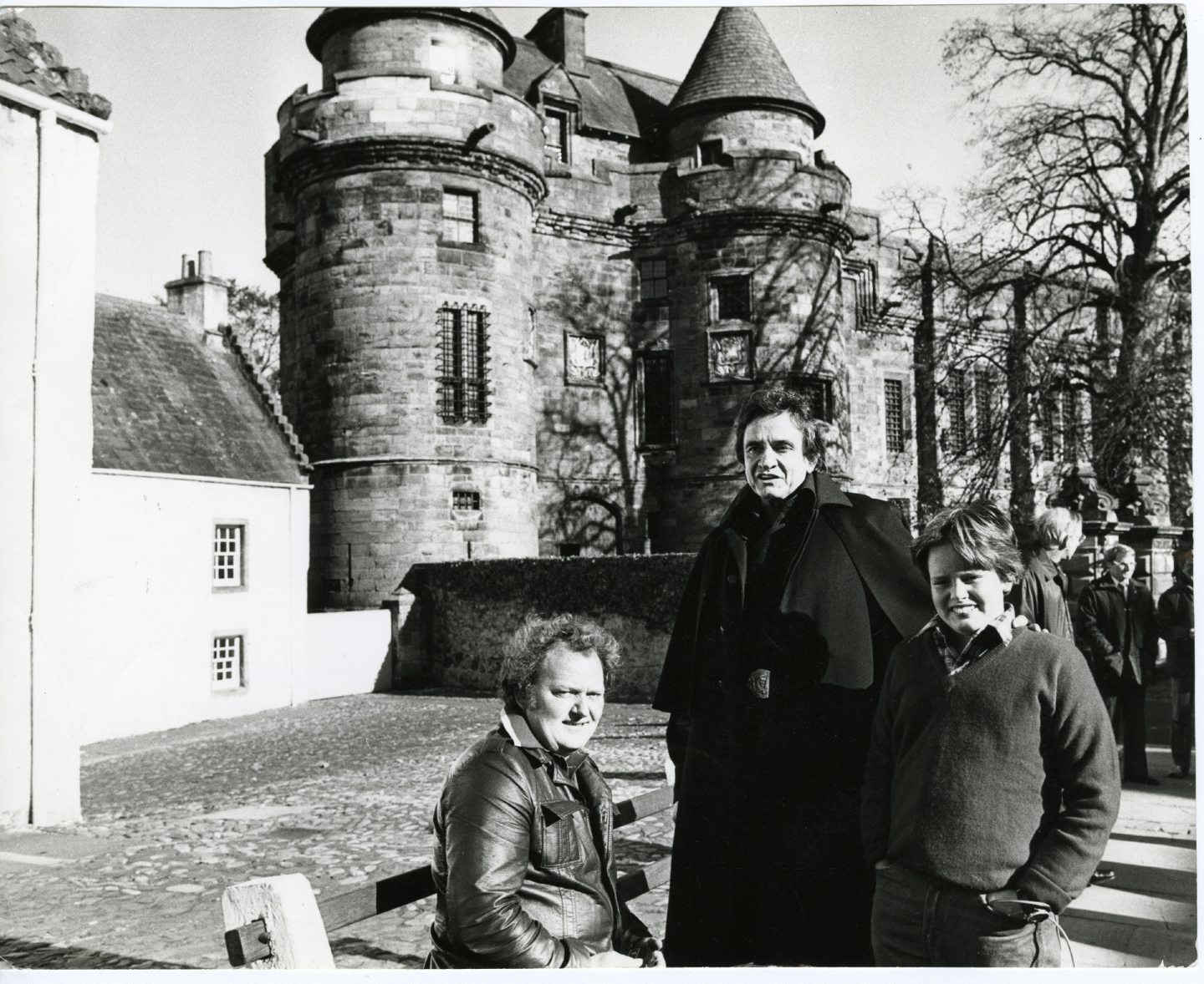 Johnny Cash with his son, John Carter Cash, 11, and John Duncan of Westfield Farm, Falkland, at Falkland Palace, where filming for his Christmas show took place.