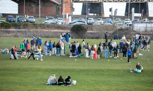 The large gathering at Magdalen Green, Dundee.