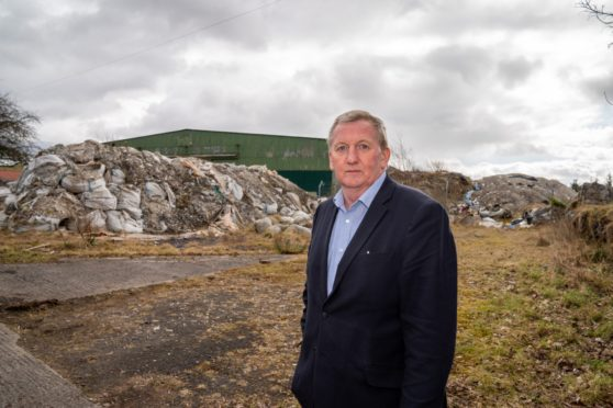 Alex Rowley MSP at the Lathalmond site which was blighted by dumping.