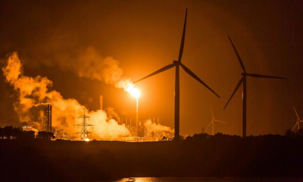 Flare at Mossmorran gas plant in Fife