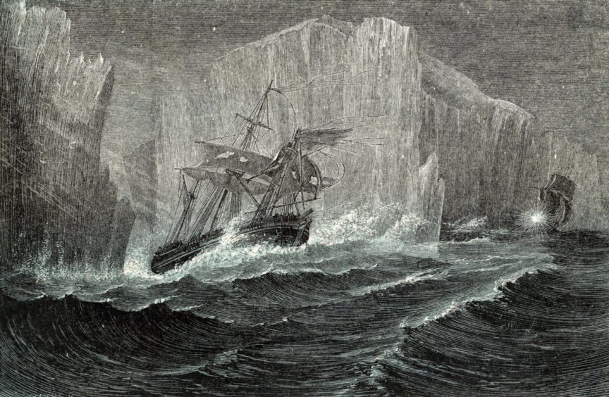 The Erebus and the Terror among icebergs on the doomed mission.