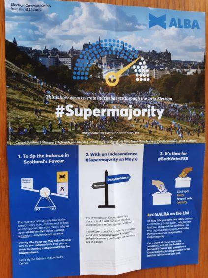 Alba Party campaign leaflets