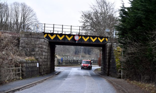 The railway bridge on the way to Keithhall is often flooded due to poor drainage.