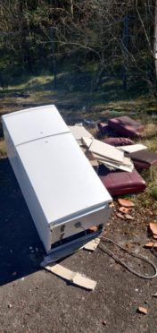A fridge freezer and a sofa were some of the items dumped