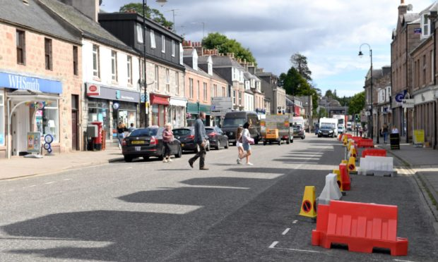 The majority of Spaces for People measures on High Street in Banchory were removed in December.