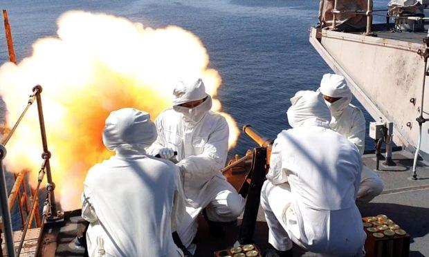 Gun salutes on the HMS Montrose