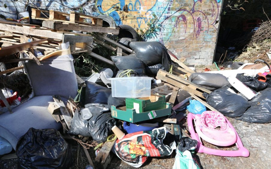 Fly tipped rubbish on Douglas Street in Glasgow